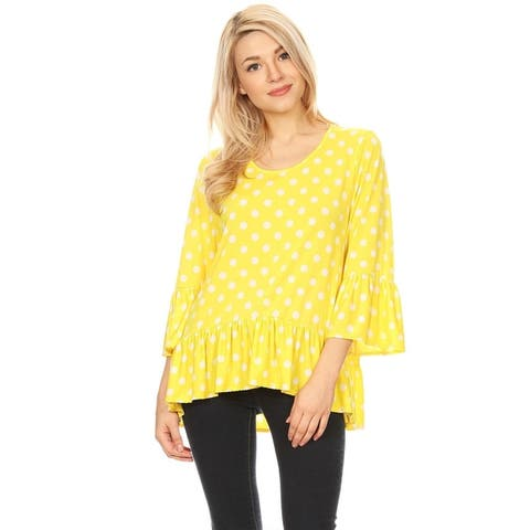 Women's Lightweight Print Loose Fit Ruffled Flounce Sleeve Tunic Top Blouse