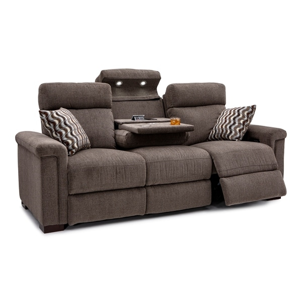 Seatcraft Hawke Home Theater Seating Performance Fabric Recline Sofa With Adjule Ed Headrests Table