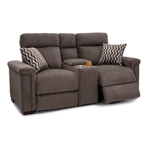 Seatcraft Hawke Home Theater Seating Performance Fabric Power Recline Loveseat with Adjustable Powered Headrests, Cup Holders