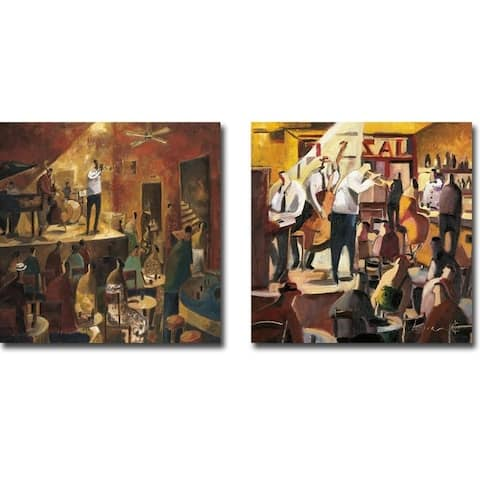 Red Jazz & Cita con el Jazz (Jazz Meeting) by Didier Lourenco 2-pc Gallery Wrapped Canvas Giclee Art Set (Ready to Hang)