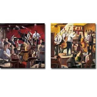 Blue Smoke & Cita con el Jazz (Jazz Meeting) by Didier Lourenco 2-pc Gallery Wrapped Canvas Giclee Art Set (Ready to Hang)