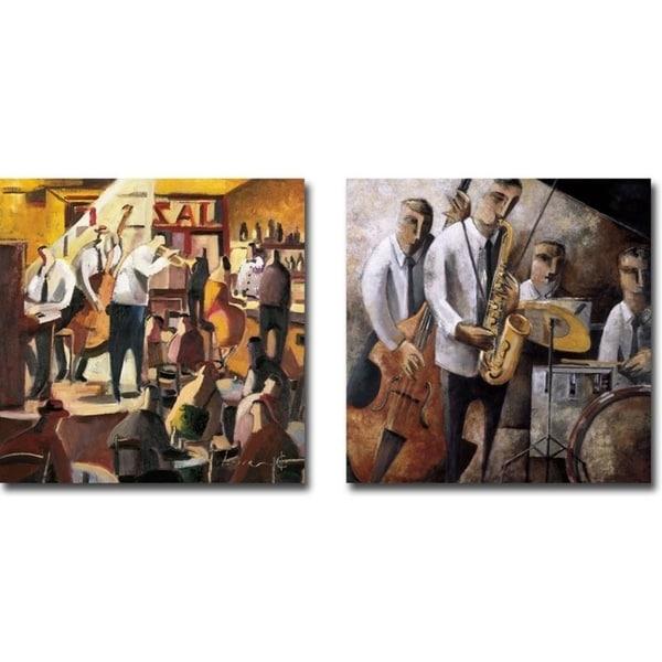 Cita con el Jazz (Jazz Meeting) & Jazz en Vivo (Live Jazz) by Didier Lourenco 2-pc Gallery Wrapped Canvas Giclee Art Set