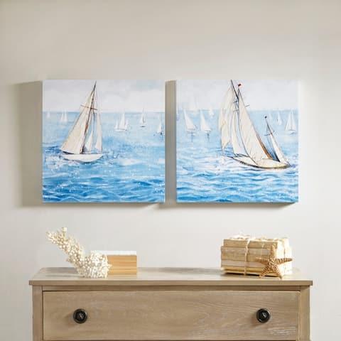 Madison Park Sailing Regatta Blue 2 Piece Canvas Art Set Gel Coating