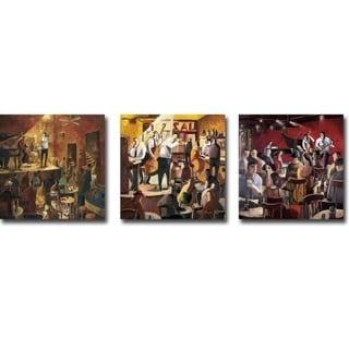 Red Jazz, Cita con el Jazz (Jazz Meeting), & Blue Smoke by Didier Lourenco 3-pc Gallery Wrapped Canvas Giclee Art Set