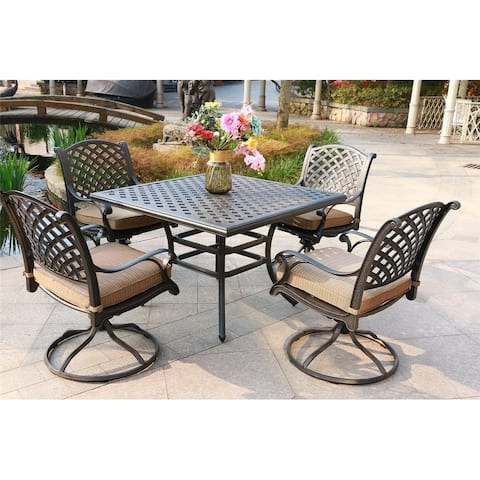 South Ponto 5-piece Aged Bronze Aluminum Square Dining Set with Swivel Chairs by Havenside Home