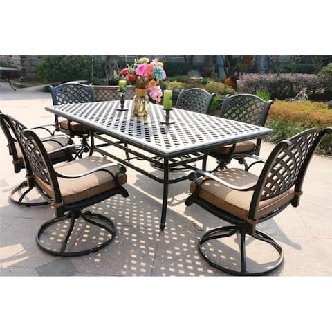 South Ponto 7-piece Aged Bronze Aluminum Dining Set with Cushioned Swivel Chairs by Havenside Home
