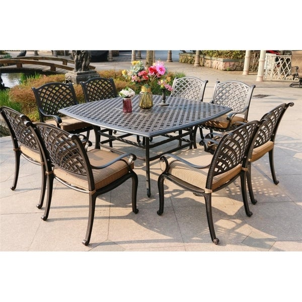 Yorkshire 9 Piece Aged Bronze Aluminum Square Dining Set With 8 Cushioned Arm Chairs