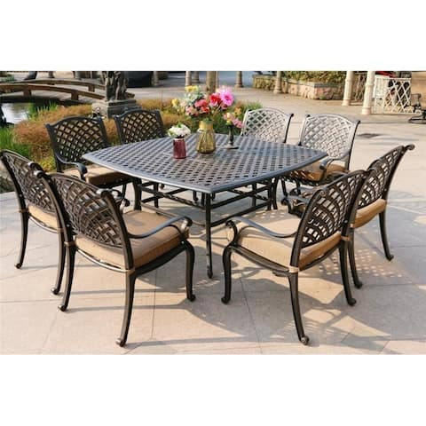 South Ponto 9-piece Aged Bronze Aluminum Square Dining Set with Cushioned Arm Chairs by Havenside Home