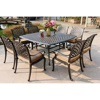 Havenside Home South Ponto 9-piece Aged Bronze Aluminum Square Dining Set with Cushioned Arm Chairs