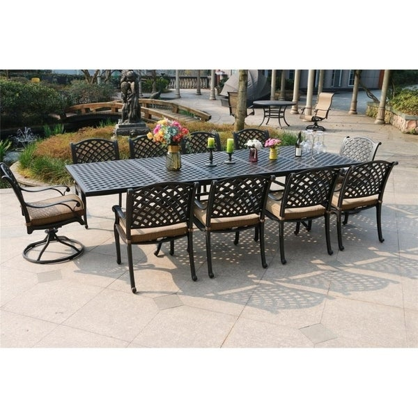 South Ponto 11-piece Aged Bronze Aluminum Dining Set with 6 Arm Chairs and 4 Swivel Chairs by Havenside Home