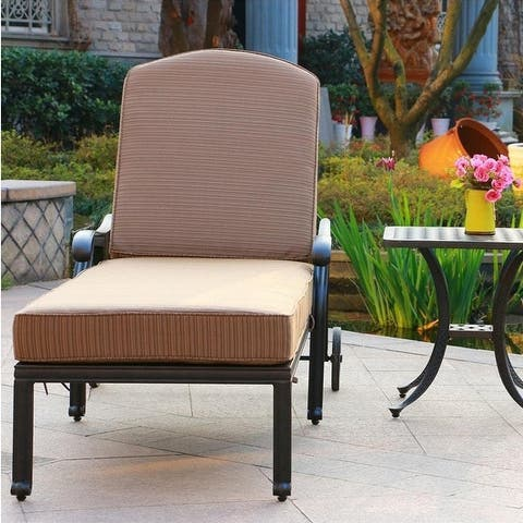 Havenside Home South Ponto 2-piece Adjustable Aged Bronze Aluminum Chaise Chair Set with End Table