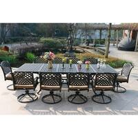 Havenside Home South Ponto 11-piece Aged Bronze Aluminum Dining Set with Swivel Chairs