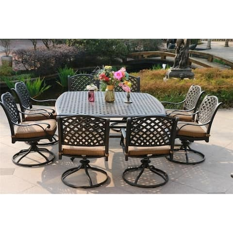 South Ponto 9-piece Aged Bronze Aluminum Square Dining Set with Swivel Chairs by Havenside Home