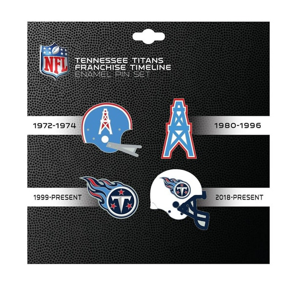 37286f3a NFL Tennessee Titans Sports Team Logo 4 Pin Set Franchise Timeline  Collectible Throwback