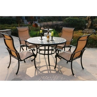 Havenside Home South Ponto 5-piece Aged Bronze Aluminum Round Dining Set