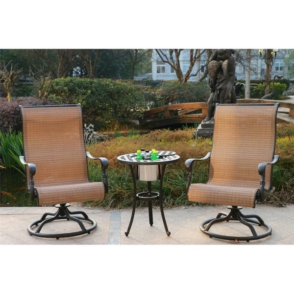 Yorkshire 3 Piece Aged Bronze Aluminum Bistro Set Sling Chairs With Ice Bucket Table To