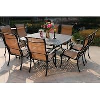 Havenside Home South Ponto 9-piece Aged Bronze Aluminum Square Dining Set