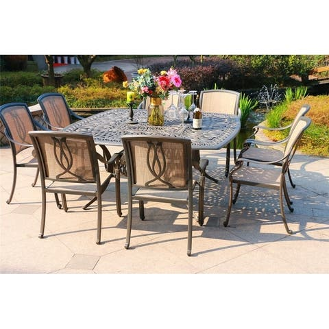 Manasquan 9-piece Gunmetal Aluminum Square Dining Set by Havenside Home