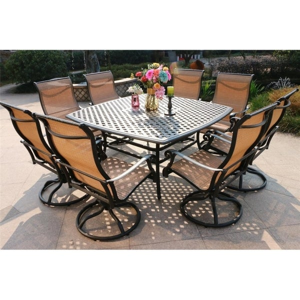 Yorkshire 9 Piece Aged Bronze Aluminum Square Dining Set With 8 Sling Swivel Chairs