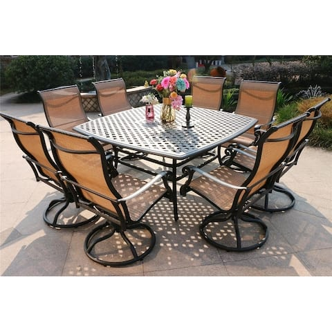 Havenside Home South Ponto 9-piece Aged Bronze Aluminum Square Dining Set with Swivel Chairs
