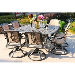 Havenside Home Manasquan 9-piece Gunmetal Aluminum Square Dining Set with Swivel Chairs