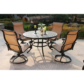 Havenside Home South Ponto 5-piece Aged Bronze Aluminum Round Dining Set with Swivel Chairs