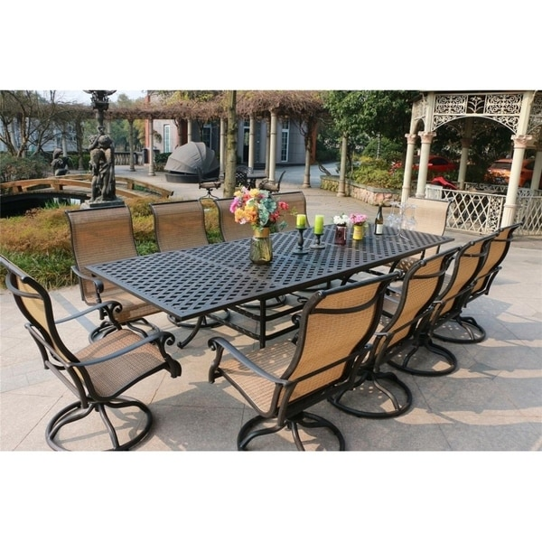 Havenside Home South Ponto 11-piece Aged Bronze Aluminum Rectangle Dining Set with Swivel Chairs