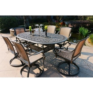 Havenside Home Manasquan 7-piece Gunmetal Aluminum Oval Dining Set with Swivel Chairs