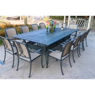 Havenside Home Manasquan 13-piece Gunmetal Aluminum Dining Set