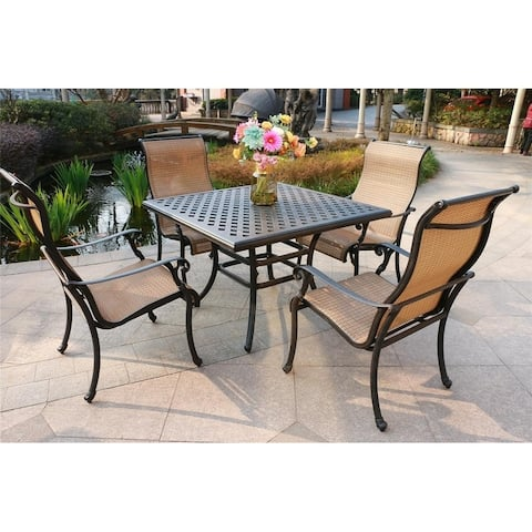 Yorkshire 5-piece Aged Bronze Aluminum Square Dining Set with 4 Sling Chairs