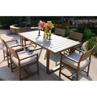 Havenside Home Katalla 7-piece Dark Wood Grained Aluminum Dining Set with Cushioned Chairs