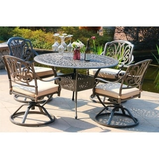 Havenside Home Manasquan 5-piece Gunmetal Aluminum Round Dining Set with Swivel Chairs