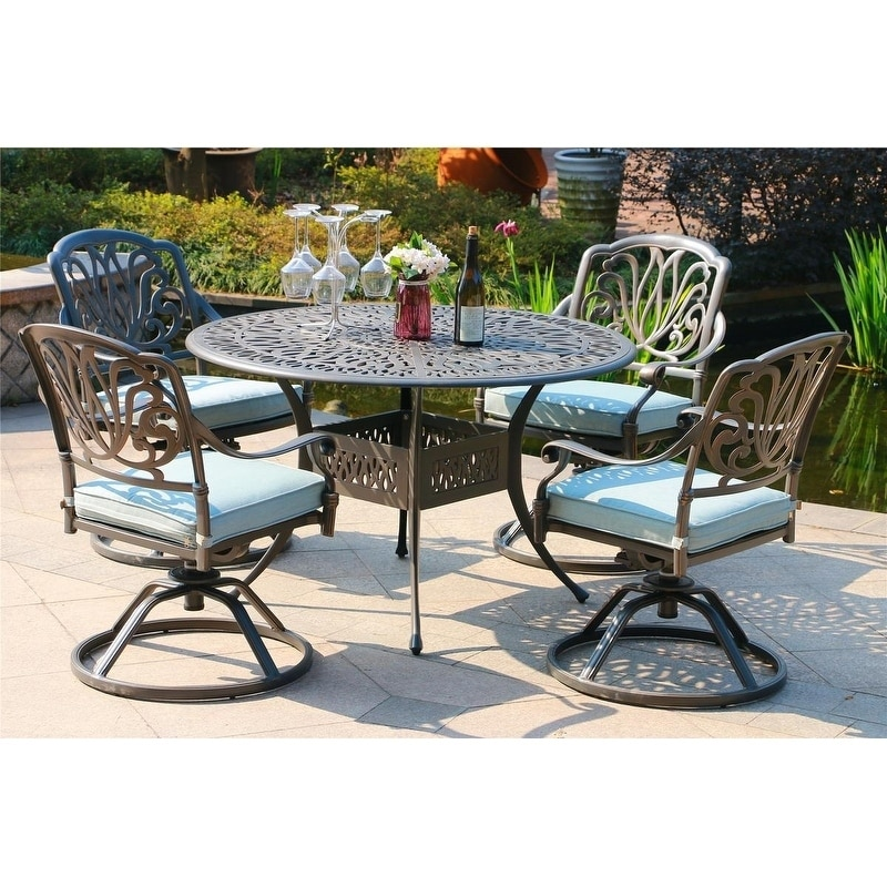 Manasquan 5 Piece Gunmetal Aluminum Round Dining Set With Swivel Chairs By Havenside Home Overstock 26955480