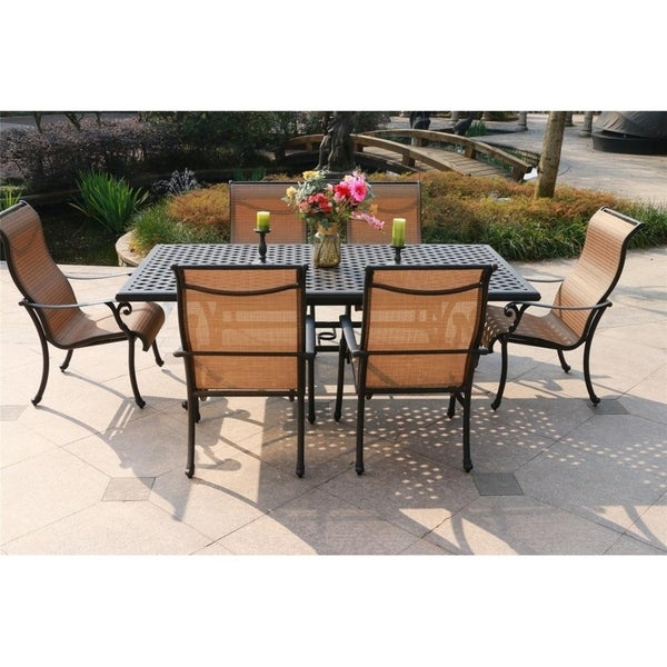 Yorkshire 7 Piece Aged Bronze Aluminum Rectangle Dining Set With 6 Sling Chairs