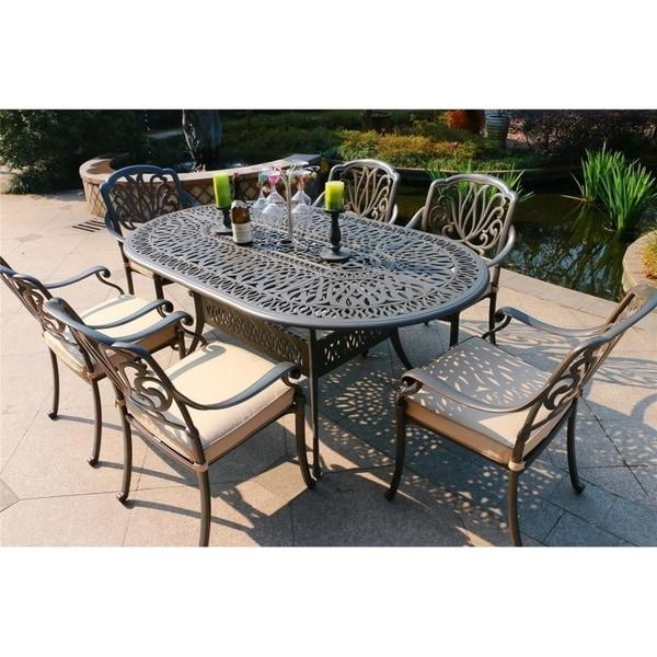Havenside Home Manasquan 7-piece Gunmetal Aluminum Oval Dining Set