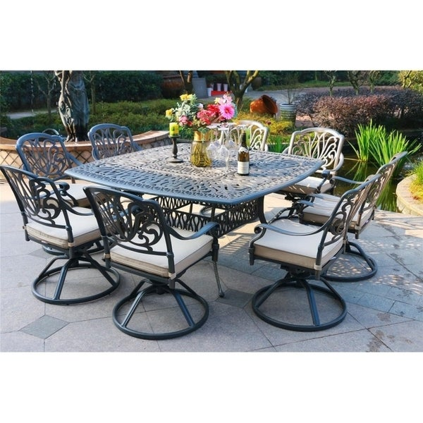 Havenside Home Manasquan 9-piece Gunmetal Aluminum Square Dining Set with Cushioned Swivel Chairs