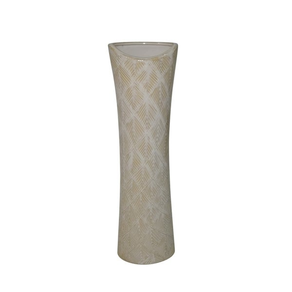 Textured Ceramic Vase with Pine Needle Design, White