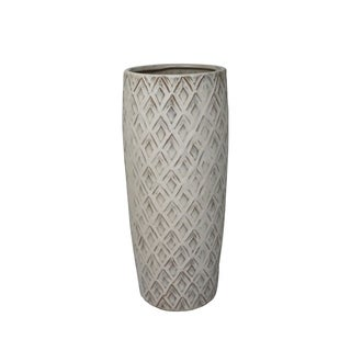Ceramic Tapered Table Vase with Embossed Diamond Design, White