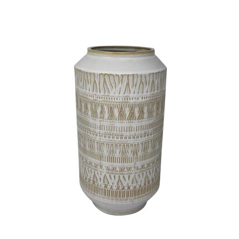 Ceramic Table Vase with Textured Surface, White and Beige