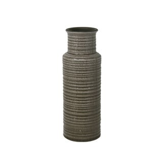 Ribbed Pattern Cylindrical Ceramic Vase with Flared Mouth Rim, Gray, Small