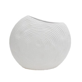Engraved Textured Ceramic Vase with Curvy Opening, Small, Matte White