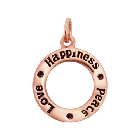 Handmade The Message of Happiness Peace Love Sterling Silver Ring Pendant (Thailand)