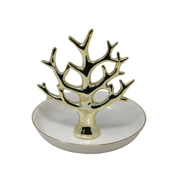 Decorative Ceramic Tree Ring Holder with Trinket Tray, White and Gold