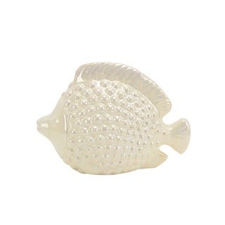 Ceramic Decorative Fish Figurine with Embossed Dots, Pearl White