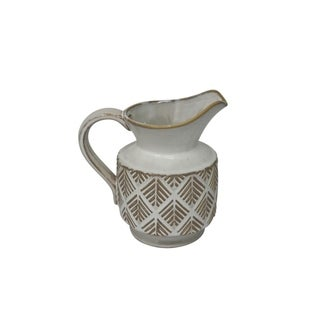 Ceramic Decorative Pitcher with textured Surface, White and Beige