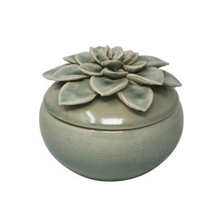 Ceramic Covered Jar with Embossed Flower Design On The Top Of Lid, Large, Green and Beige