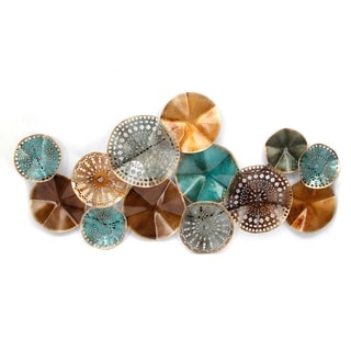 Geometrically Designed Overlapped Circles Wall Sculpture in Metal, Multicolor