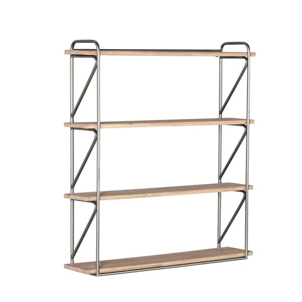 Enjoyable Metal Frame Wooden Wall Shelf With Four Shelves Brown And Silver Interior Design Ideas Clesiryabchikinfo