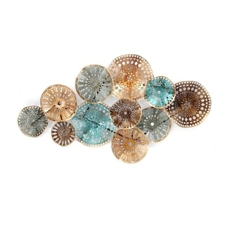 Decorative Iron Circles Wall Sculpture Attached Over Geometric Base, Multicolor