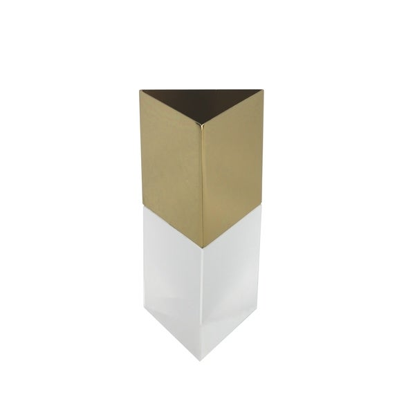 Dual Tone Metal and Crystal Vase in Triangular Shape, Gold and Clear